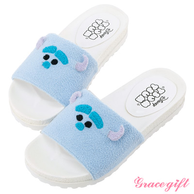 Disney collection by grace gift立體毛絨寬版涼拖鞋 藍