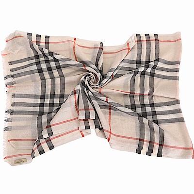 BURBERRY 石銀色金屬感格紋絲綢羊毛圍巾/披肩