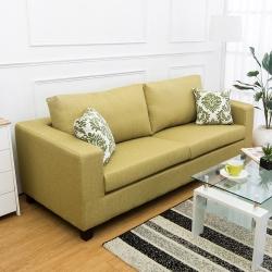 Bernice-羅伊三人座綠色防潑水亞麻布沙發(送抱枕)