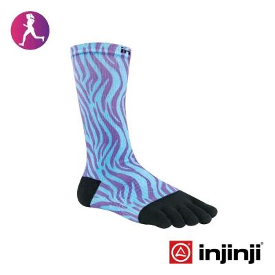 【Injinji】RUN女性輕量吸排五趾中筒襪-藍紫紋