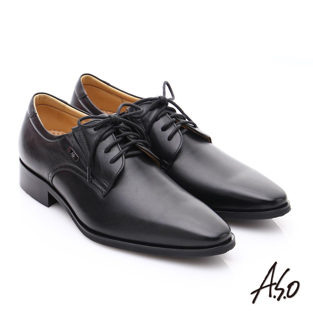 A.S.O超輕雙核心 時尚尖楦真皮奈米皮鞋 黑色