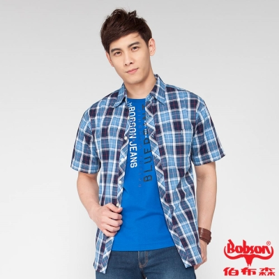 BOBSON 男款格紋短袖襯衫(藍53)