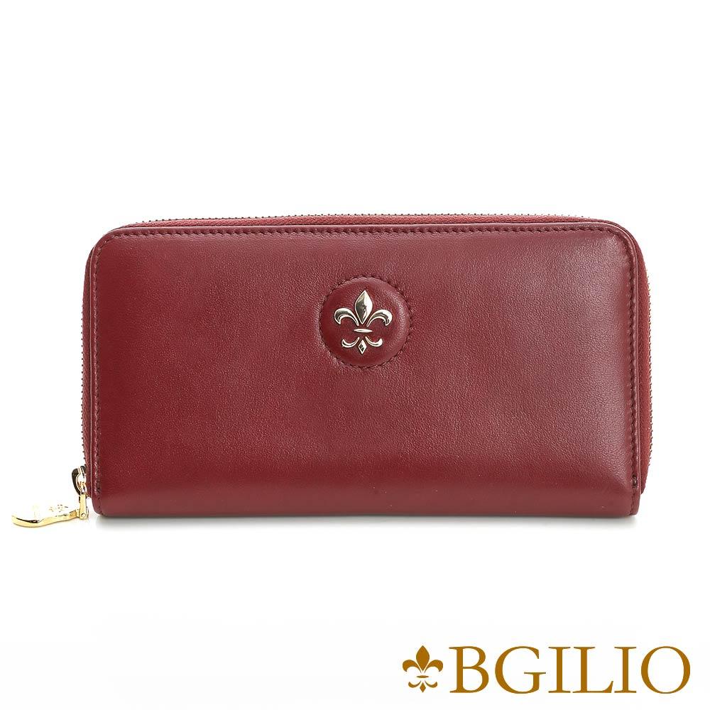 義大利BGilio - 氣質NAPPA軟牛皮拉鏈長夾 - 棗紅色1942.323A-01