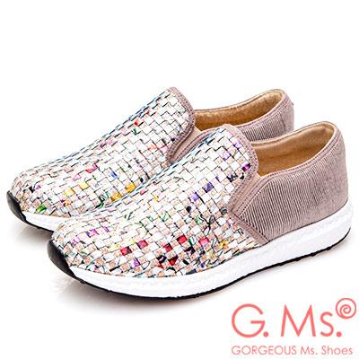 G.Ms. MIT系列-印花亮粉牛皮編織懶人鞋-銀色