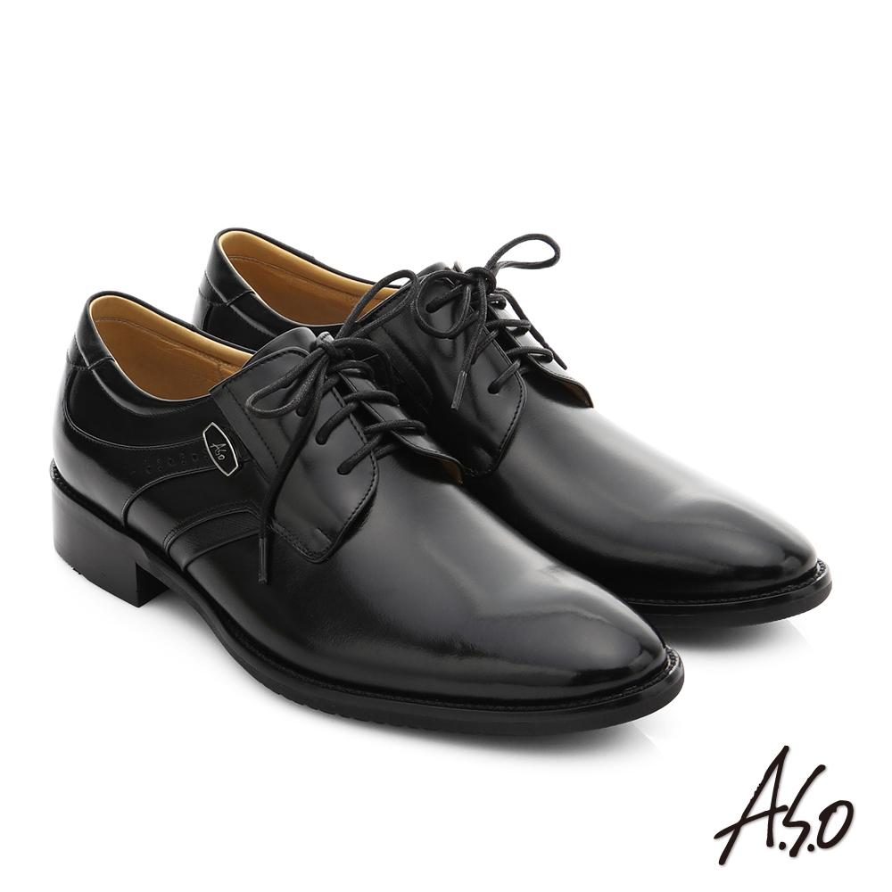 A.S.O 菁英通勤 真皮綁帶奈米紳士鞋 黑色