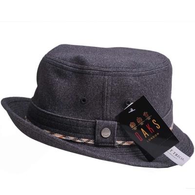 DAKS 經典品牌LOGO格紋滾邊漁夫帽(深灰色)