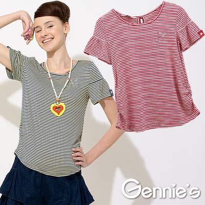 【Gennie's奇妮】星星水鑽.好搭配條紋春夏孕婦上衣-5色可選(G3U14)