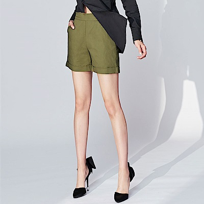 SUITANGTANG 褲管翻褶燈籠短褲-共2色-綠
