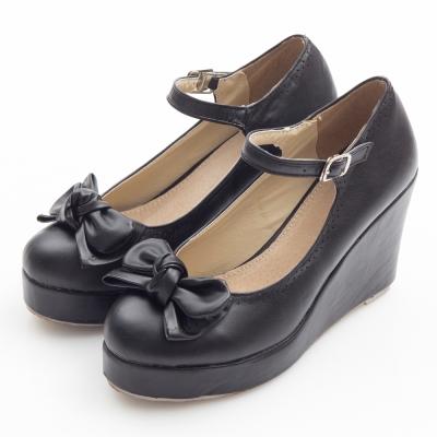 JMS-俏皮雙層蝴蝶結楔型娃娃鞋-黑色