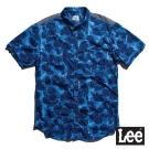Lee 短袖襯衫 花朵米彩條紋布拼接-男款(藍)