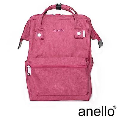 日本正版anello 高雅混色紋理 刺繡LOGO後背包〈粉紅色PI〉L