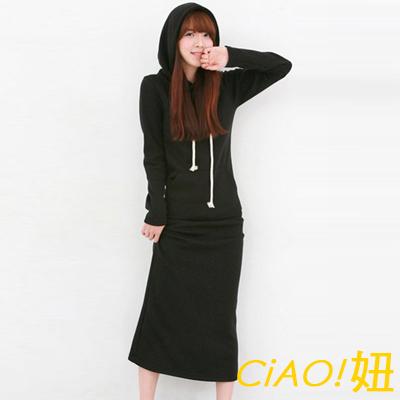 加絨包臀連身長裙連帽洋裝 (共三色)-CiAO妞