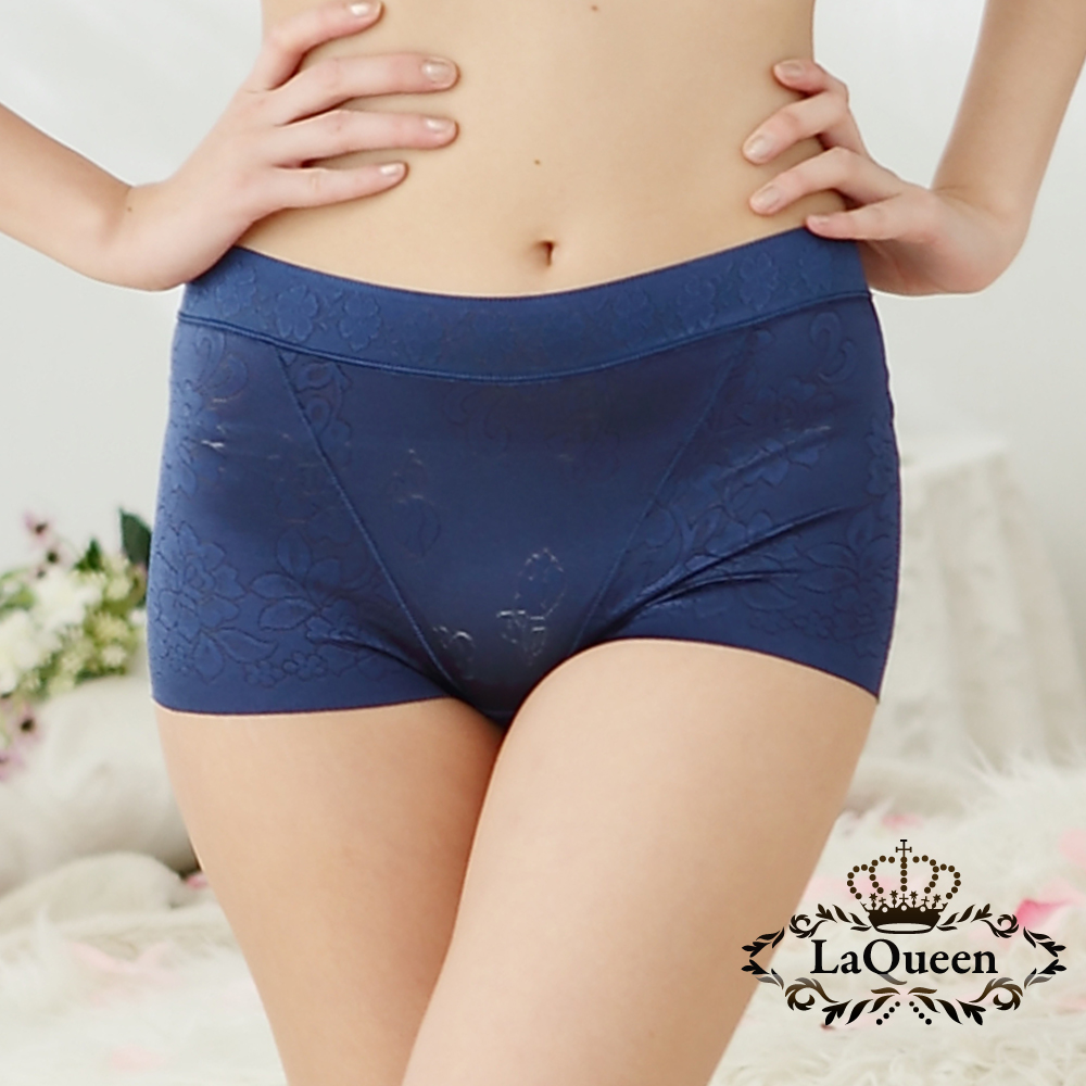 內褲  提花親膚蠶絲無痕高腰內褲-藍 La Queen
