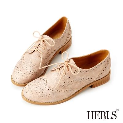 HERLS-內真皮低調亮面蜥蝪紋牛津鞋-粉色