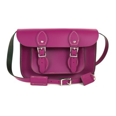 The Leather Satchel 英國手工牛皮劍橋包 肩背 側背包 紅莓紫 11吋