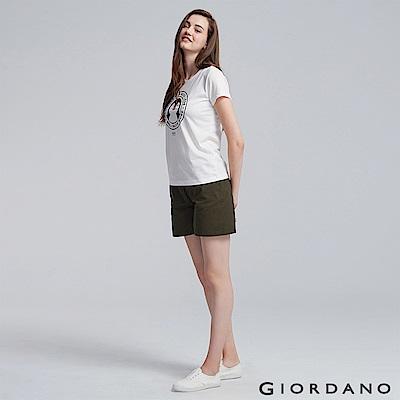 GIORDANO 女裝純棉素色抽繩卡其休閒短褲-60 深淵綠色