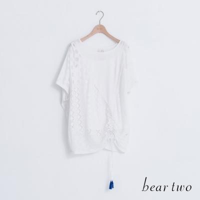 beartwo-拼接圓點格紋流蘇連袖上衣-二色