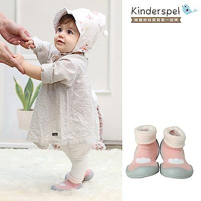 Kinderspel 輕柔細緻.套腳腳襪型學步鞋(印花糖果粉)