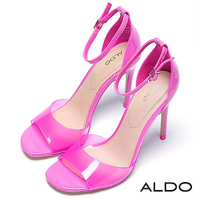 ALDO 原色果凍魚口鞋面繫踝細高跟涼鞋~俏麗粉色
