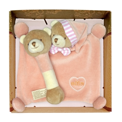 miYim有機棉晚安小熊禮盒(安撫巾+手搖鈴) 粉色