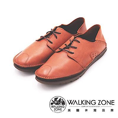 WALKING ZONE 真皮自然剪裁英倫皮革開車鞋綁帶 男鞋-咖