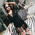 【AngelLuna日本泳裝】黑色透視紗網OnePiece連身兩件組泳衣