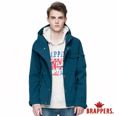 BRAPPERS 男款 男用連帽風衣外套-土耳其藍