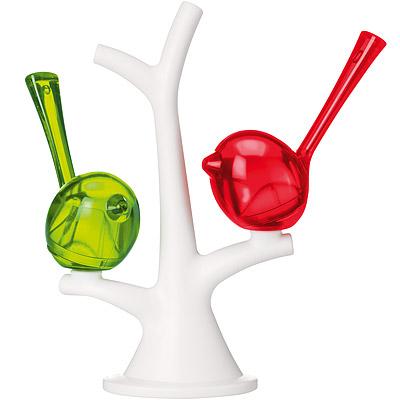 KOZIOL Pi樹梢小鳥調味罐(紅綠)