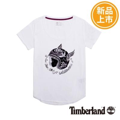Timberland-女款白色時尚印花圖案短袖T恤