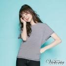 Victoria 前後二面可穿綁帶寬鬆短袖T-女-藍白細條