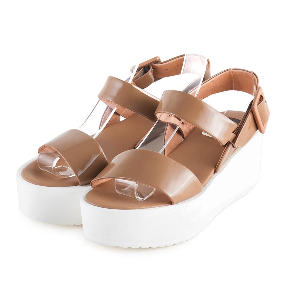 TAS 太妃Q系列 一字寬版雙繫帶厚底涼鞋-復古卡其