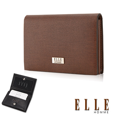 ELLE HOMM法式精品名片皮夾顆粒紋路耐磨防刮 嚴選頭層皮、可扣式置物名片格層設計-咖