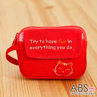 ABS貝斯貓 - HaveFun微笑貓咪拼布 雙層複合功能零錢包88-178 - 鮮梅紅