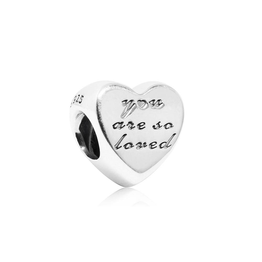 Pandora 潘朵拉 魅力愛心刻字 純銀墜飾 串珠