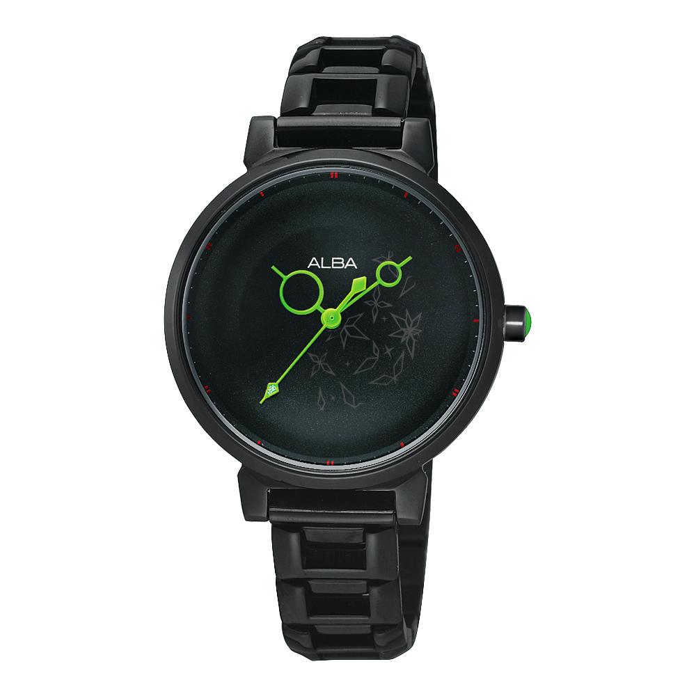ALBA 星空泡泡之旅腕錶(AH8083X)-IP黑/綠色指針/30mm