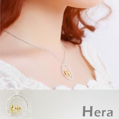 Hera 赫拉 925純銀鍍金雙色圓形比翼鳥短項鍊/鎖骨鍊(銀色)