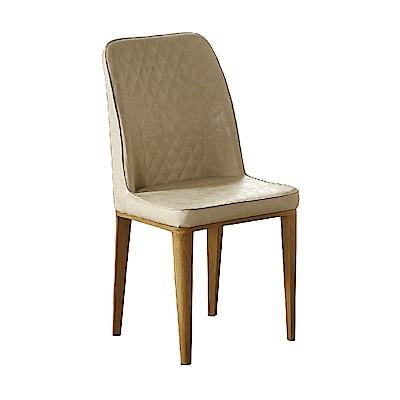 AT HOME-格林米白色菱格皮面鐵藝餐椅(47*48*93cm)
