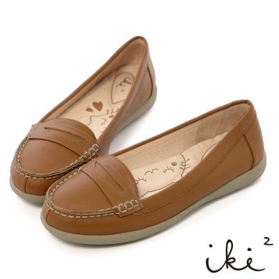 iki2-Q彈小貼芯-全真皮舒適減壓便鞋-可可咖