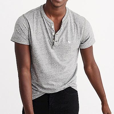 A&F 經典刺繡麋鹿亨利素色短袖T恤-灰色 AF Abercrombie