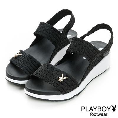 PLAYBOY-仲夏活力-鬆緊編織帶厚底涼鞋-黑