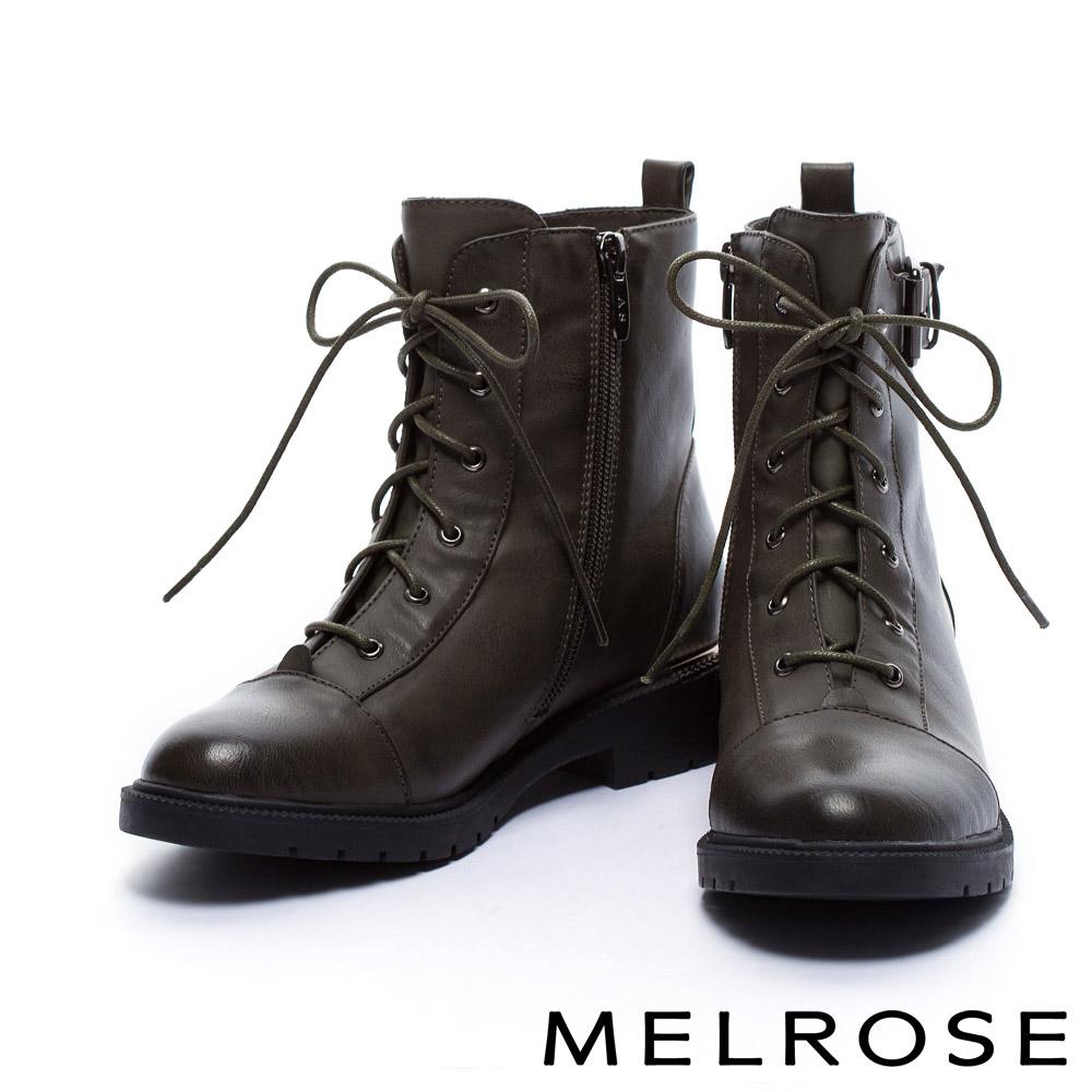 短靴MELROSE質感個性俐落剪裁金屬釦帶造型綁帶皮革粗跟短靴-綠