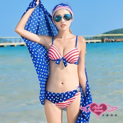 天使霓裳 美式俏皮 三件式比基尼泳衣(藍紅M~XL)