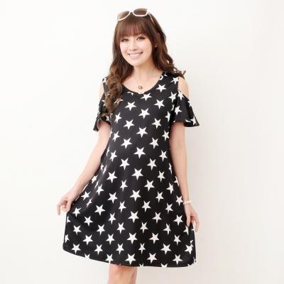 Keep-Chic孕婦裝-韓風星星露肩寬鬆洋裝