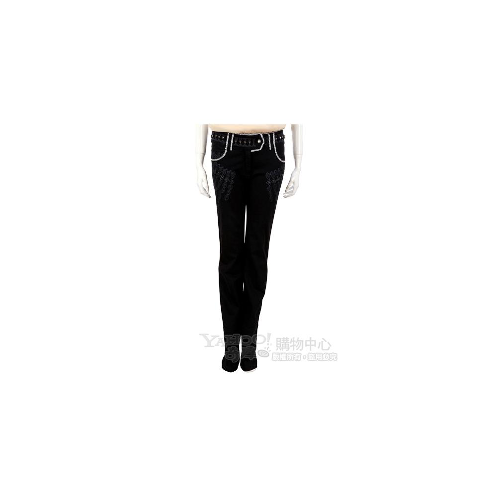ROBERTA SCARPA 黑色織紋設計長褲