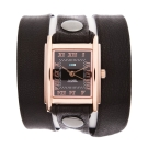 La Mer Collections 黑色皮革錶帶玫瑰金色錶框-23mm