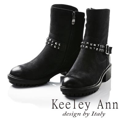 Keeley Ann龐克風潮鉚釘腰帶真皮機車短靴(黑色牛麂皮-Ann)