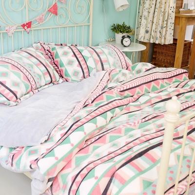 絲薇諾  波麗路 雙人四件式-極致保暖法蘭絨床包被套組