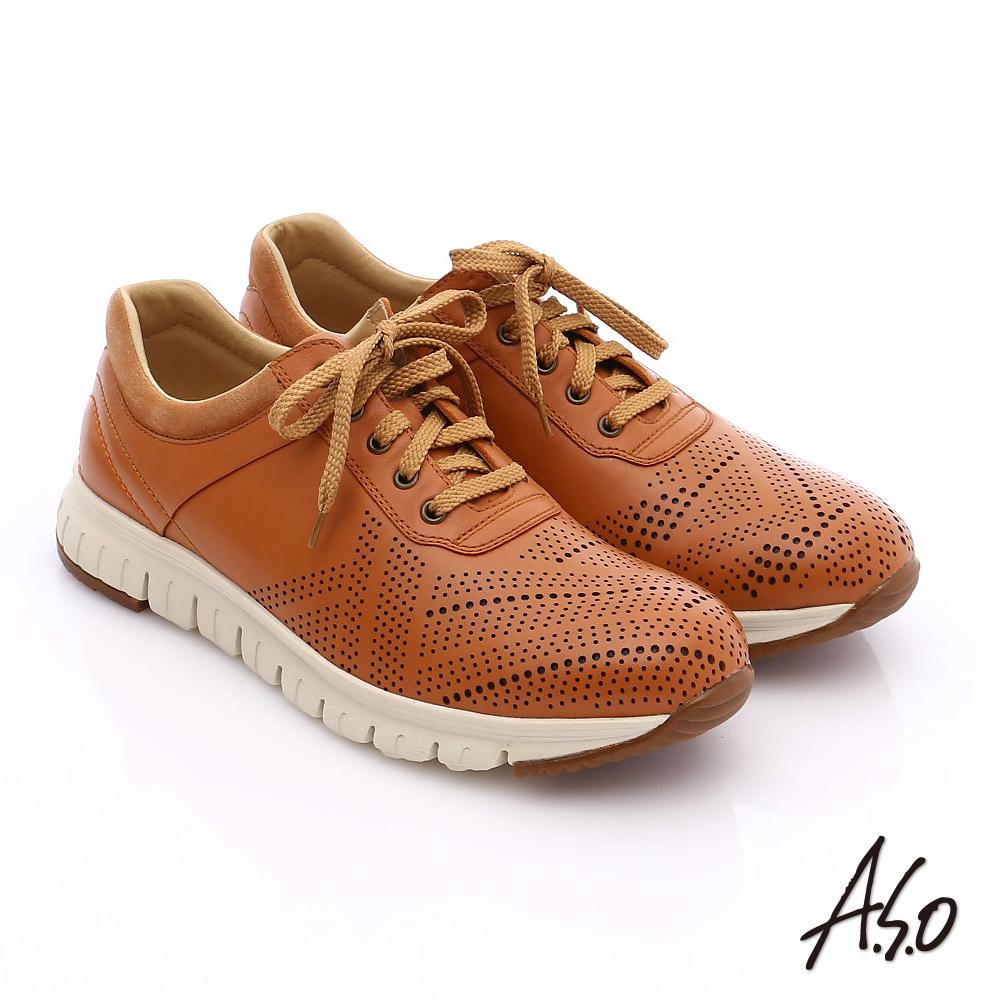 A.S.O 輕量抗震 真皮透氣輕量休閒鞋 茶色