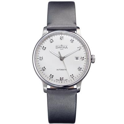 DAVOSA Glam Vanguard 先鋒系列超薄機械腕錶-白x灰色錶帶/40mm