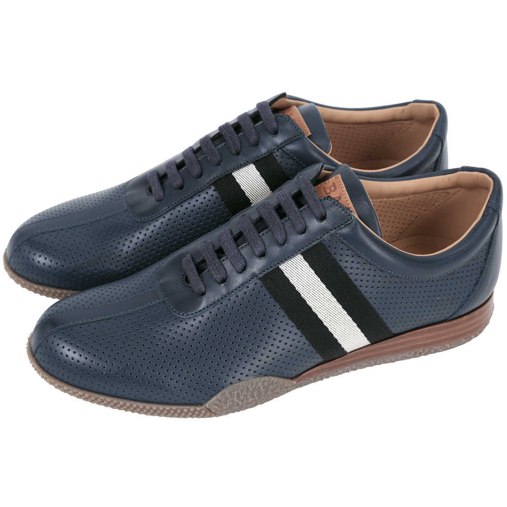 BALLY FRENZ 經典織帶打洞設計綁帶休閒鞋(深藍色)